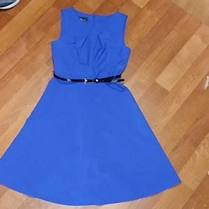 Blue A-line dress with skinny belt